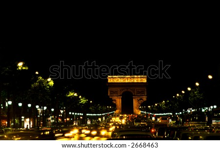 Champs Elysees by night, Paris - stock photo