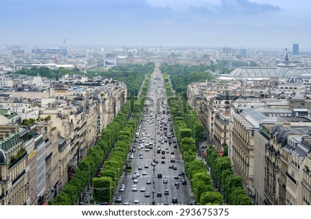 Champs Elysees from the Arc de Triomphe in Paris, France - stock photo