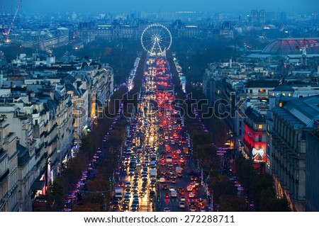 Champs Elysees in Paris France  - stock photo