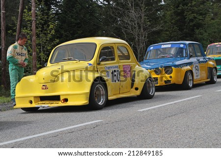 CHAMROUSSE, FRANCE, AUGUST 23, 2014 : Training for the annual Historic vehicles uphill race. Hillclimbing is a branch of motorsport in which drivers compete against clock to complete an uphill course.