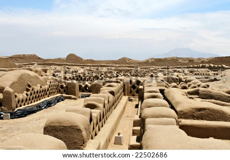 Chan Chan Ruins in modern day Peru - stock photo