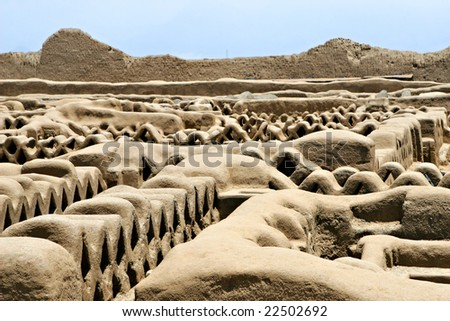 Chan Chan ruins in modern day Peru is the oldest known Pre-Colombian city in all of South America - stock photo