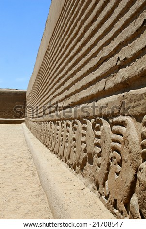 Chan Chan wall decorated with friezes - stock photo