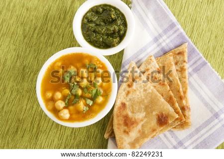 Chana masala with Paratha, Indian Food - stock photo