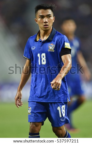 Chanathip Songkrasin of Thailand in action during the 2018 World Cup Qualifiers match between Thailand and Australia at Rajamangala Stadium on September 15, 2016 in Bangkok, Thailand
