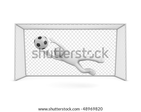 Chance to score in soccer (3d isolated on white background sports characters series) - stock photo
