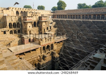 Chand Baori Stepwell in the village of Abhaneri, Rajasthan, India.  - stock photo