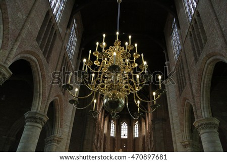 Chandelier in a Gothic building