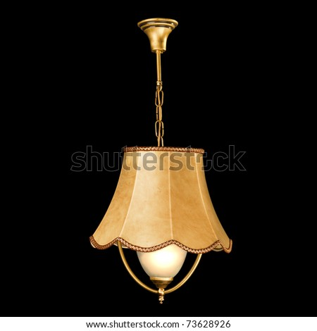 chandelier in vintage style isolated on black - stock photo