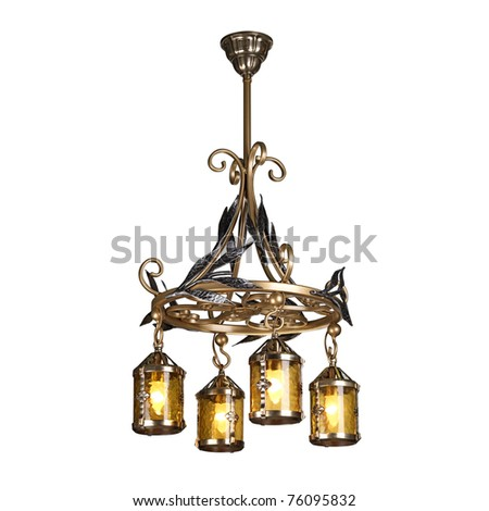 chandelier in vintage style isolated on white