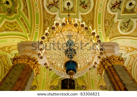 Chandelier inside Peter and Paul cathedral, Saint Petersburg - stock photo
