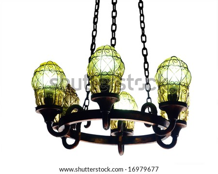 Chandelier isolated with clipping path - stock photo