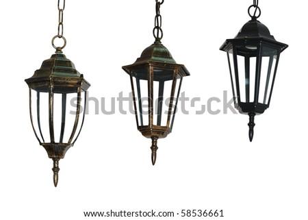 chandelier lantern  white isolated - stock photo