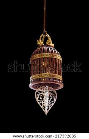 chandelier on black background - stock photo