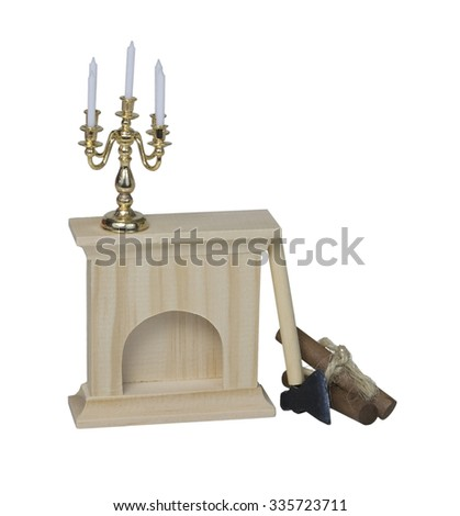 Chandelier on Fireplace with Logs and a Hatchet - path included - stock photo