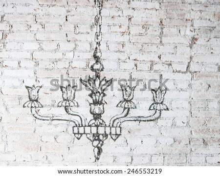 chandelier wall - stock photo