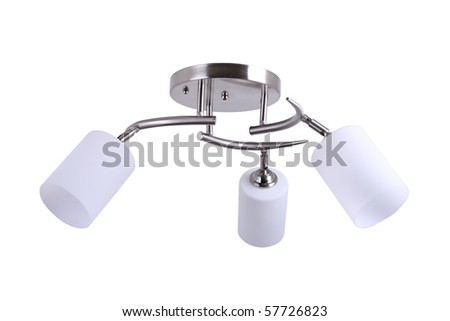 chandelier white isolated - stock photo