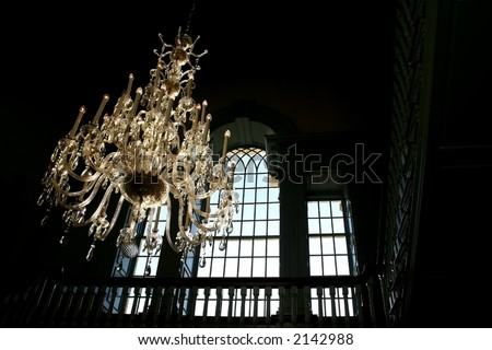 Chandeliers in an historic building - stock photo