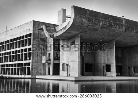 CHANDIGARH, INDIA, SEPTEMBER 20, 2014: Architectural detail of theThe Chandigarh Legislative Assembly building, magnificent modernistic architecture, designed by noted architect Le Corbusier. - stock photo