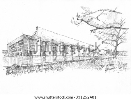 Chandigarh legislative assembly building pencil sketch