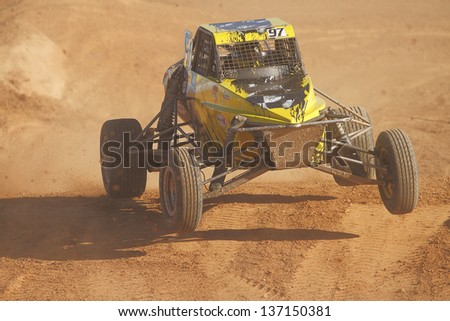 CHANDLER, AZ - OCT 26: Eric Fitch (97) at speed in Pro Buggy Lucas Oil Off Road Series racing during a qualifying session on October 26, 2012 at Firebird International Raceway in Chandler, AZ. - stock photo