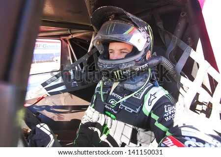 CHANDLER, AZ - OCT 26: Jeremy McGrath (2) in his Pro 2 Unlimited Lucas Oil Off Road Series racing for a qualifying session on October 26, 2012 at Firebird International Raceway in Chandler, AZ. - stock photo