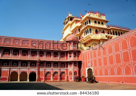 Chandra Mahal in City Palace, Jaipur, India. It was the seat of the Maharaja of Jaipur, the head of the Kachwaha Rajput clan. The Chandra Mahal palace seen in this photo now houses a museum.