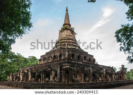 Chang Lom Ancient Temple was built in Sukhothai period, circa 14th century A.D. It is a large Buddhism monastery which located at the center of Si Sachanalai ancient town, Sukhothai, Thailand. - stock photo