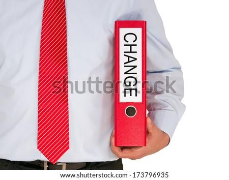 Change - Businessman with binder on white background - stock photo