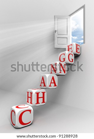 change conceptual door with sky and box word  ladder in white room metaphor - stock photo