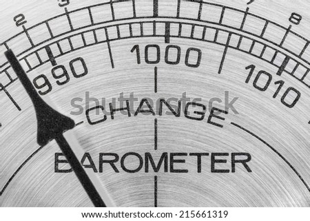 Change in the weather barometer macro detail. - stock photo