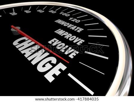 Change Innovate Improve Involve Speedometer 3d Illustration - stock photo