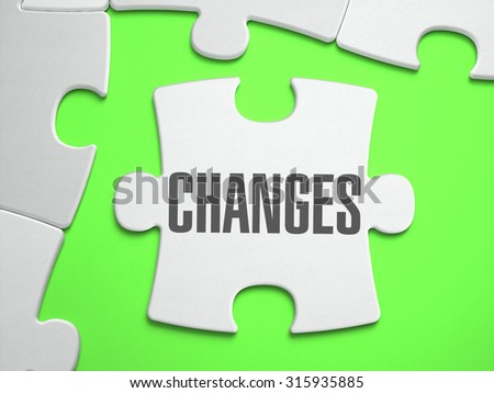Change  - Jigsaw Puzzle with Missing Pieces. Bright Green Background. Close-up. 3d Illustration. - stock photo