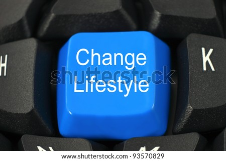 Change lifestyle word on blue and black keyboard button - stock photo