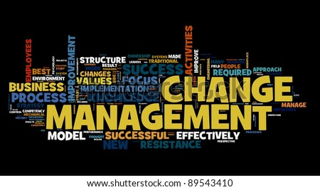 Change management concept in word cloud on black - stock photo