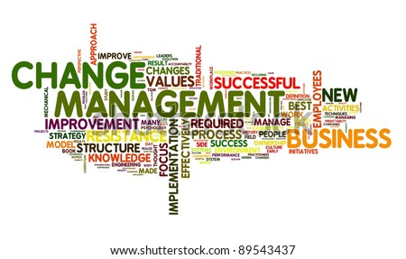 Change management concept in word cloud on white - stock photo