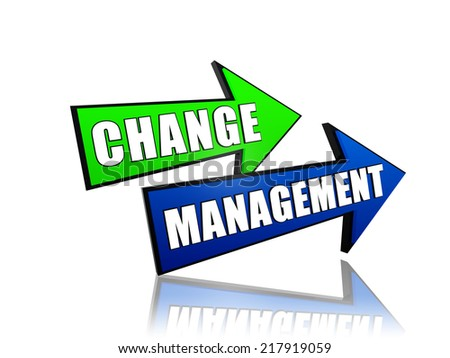 change management - text in 3d arrows, business organize adaptation concept