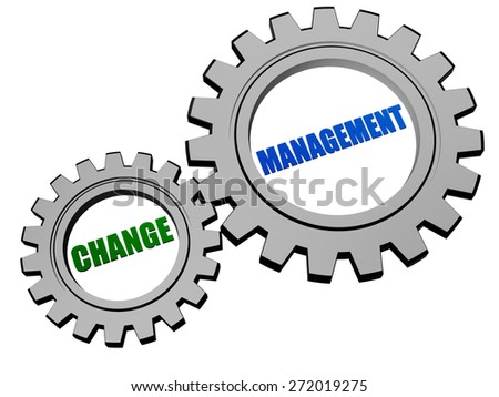 change management - text in 3d silver grey metal gear wheels, business organize adaptation concept words - stock photo