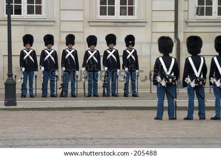 Change of guards, Amalienborg, Copenhagen - stock photo