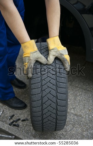 change of tyres - stock photo