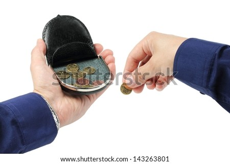 change purse on a palm, hold coin - stock photo