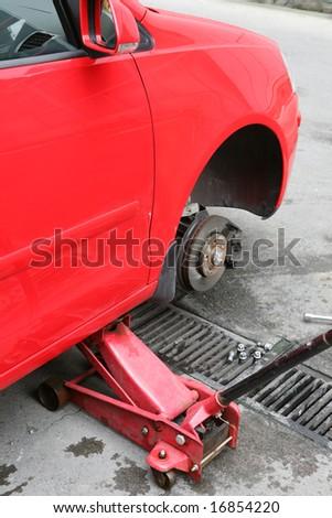 change the car's wheel - stock photo