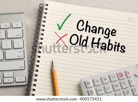 Change versus Old habit messages, Lifestyle change concept - stock photo