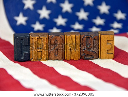 change word in antique wood letterpress type on American flag - stock photo