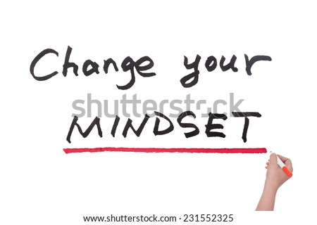Change your mindset words written on white board - stock photo