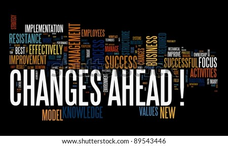 Changes ahead concept in word cloud on black background - stock photo