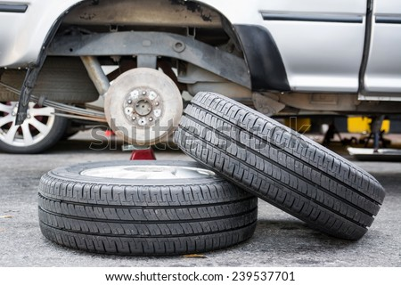 Changing car Tire  - stock photo