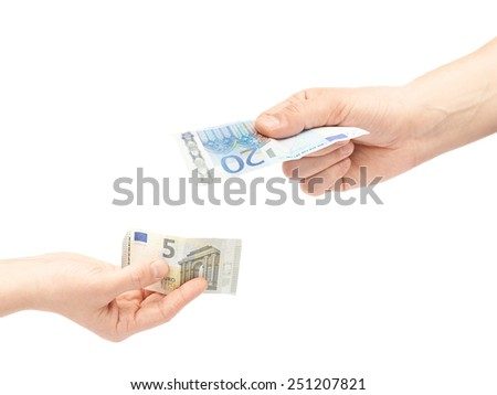 Changing money composition of two male hands holding five and twenty euro notes, isolated over the white background - stock photo
