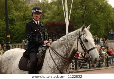 Changing of the Guard at Buckingham Palace, London England - stock photo