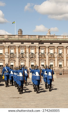 Changing of the guard, Stockholm, Sweden - stock photo